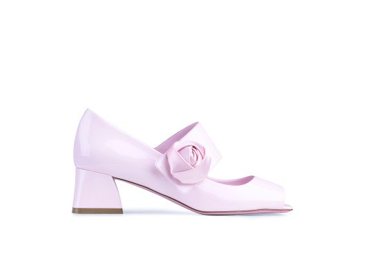 Roger Vivier Open Toe Rose Button Pumps in Pink