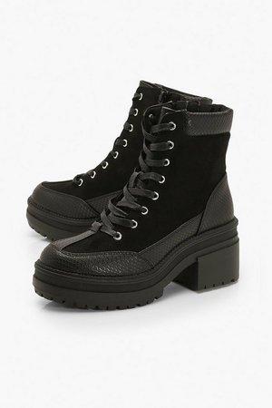 Croc Panel Block Heel Hiker Boots   boohoo
