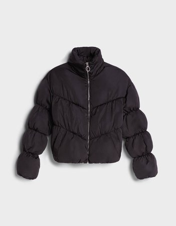 Black Gathered puffer jacket - Outerwear - Woman   Bershka