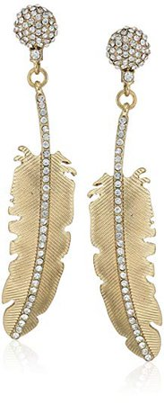 "Betsey Johnson ""Angels & Wings"" Large Feather Drop Earrings: Jewelry"