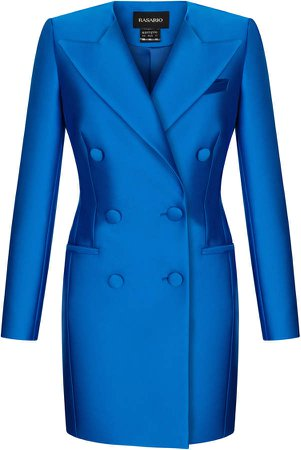 Rasario Double-Breasted Satin Blazer Dress