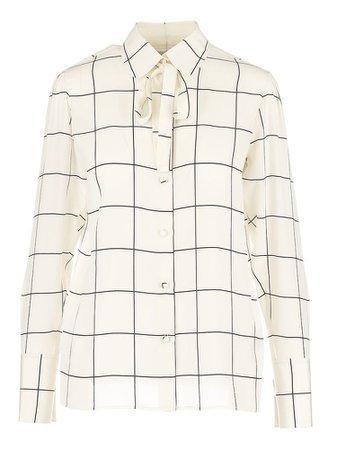 VALENTINO Silk Windowpane Print Shirt
