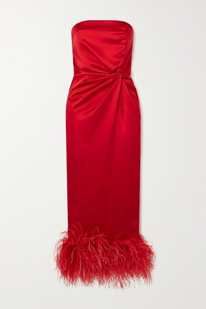 Red Himawari strapless feather-trimmed knotted satin midi dress   16ARLINGTON   NET-A-PORTER