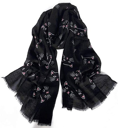 GERINLY Cute Cats Print Scarf for Animal Lovers Lightweight Head Wrap Neck Scarfs (Black Pink) at Amazon Women's Clothing store