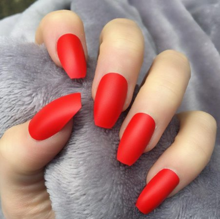 Hot Red Matte Squaletto – Doobys Nails