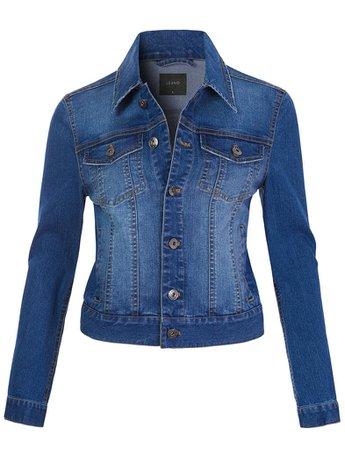 LE3NO Womens Classic Vintage Long Sleeve Button Down Denim Jean Jacket | LE3NO blue
