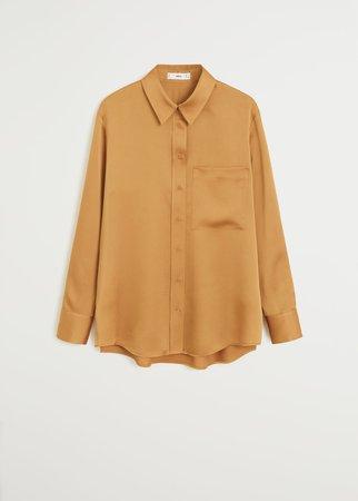 Satin pocket shirt - Women   Mango USA
