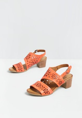 Coral of the Story Leather Slingback Sandal Coral | ModCloth