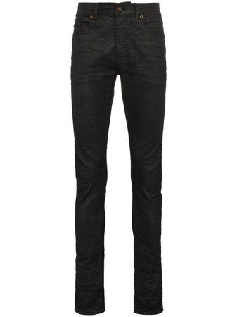 Saint Laurent Black Coated Skinny Jeans - Farfetch