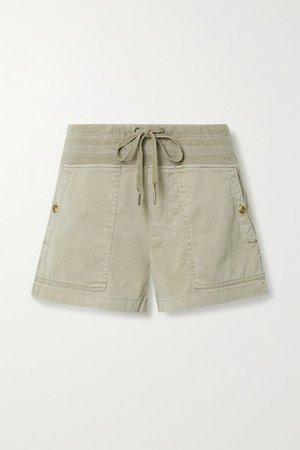 Military Slub Cotton-blend Shorts - Mushroom