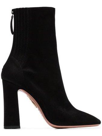 Aquazzura black Sainthonore 105 suede ankle boots
