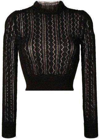 ALEXACHUNG Alexa Chung ruffled neck knitted top