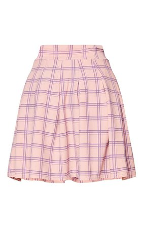Pink Check Pleated Side Split Tennis Skirt | PrettyLittleThing