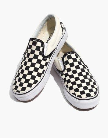Vans Unisex Classic Slip-On Sneakers in Black Checkerboard