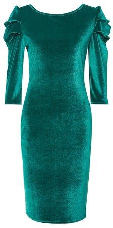 **Tall Green Puff Sleeve Velvet Bodycon Dress