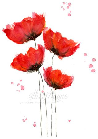 white and red flowers painting - Google Search