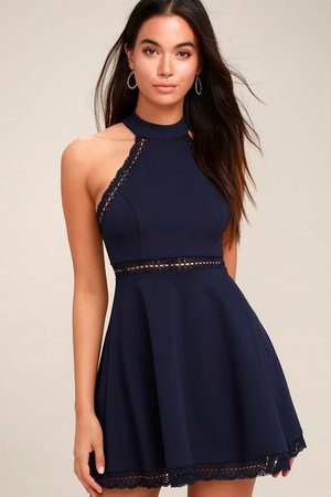 Navy Blue Dress - Lace Dress - Skater Dress - Halter Dress - Lulus