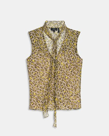 Tie Scarf Top in Leopard Silk Chiffon | Theory