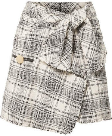 Wrap-effect Checked Bouclé-tweed Mini Skirt - Gray