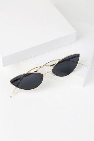 Chic Black Sunglasses - Small Sunglasses - Cat-Eye Sunglasses