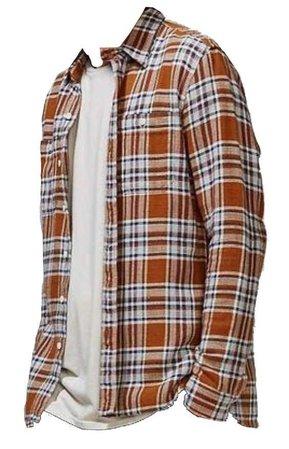 orange plaid / flannel shirt over a white tee shirt