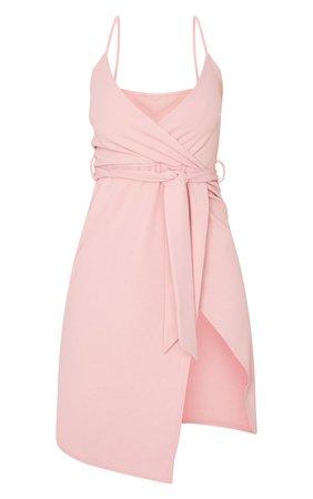 Dusty Pink Strappy Wrap Tie Waist Midi Dress | PrettyLittleThing USA