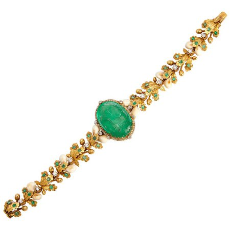 Antique Hunting Emerald Cameo Bracelet