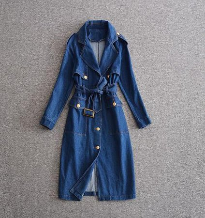 Denim Coat Dress! Coat-Like Dress with Long Sleeve and Belt, Women Den