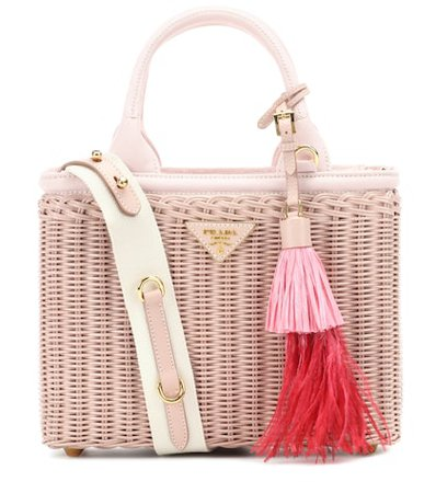 Leather-trimmed wicker tote