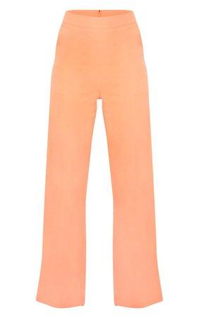Peach High Waisted Wide Leg Trouser   PrettyLittleThing