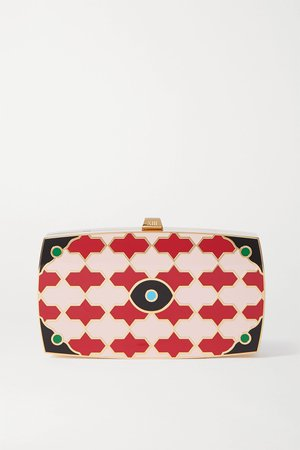 Pink Shelter enamel and gold-tone clutch | 13BC | NET-A-PORTER