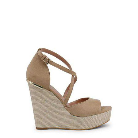 Wedges | Shop Women's Blu Byblos Beige Ankle Strap Wedges at Fashiontage | COVERED_682328_BEIGE-Brown-40