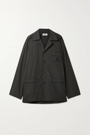 Black Oversized embroidered checked cotton-poplin shirt   Balenciaga   NET-A-PORTER