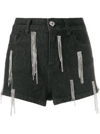 Amen High Waisted Embellished Shorts In Black | ModeSens