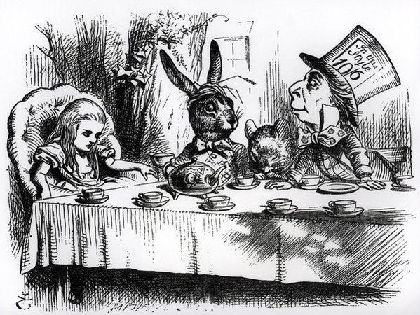 John Tenniel | The Mad Hatter's Tea Party, illustration from 'Alice's Adventures in Wonderland', by Lewis Carroll | Buy Prints Online