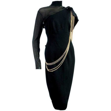 Chanel Black Cocktail Dress Sheer Silk Panel with Gold Chains, 1980s For Sale at 1stdibs