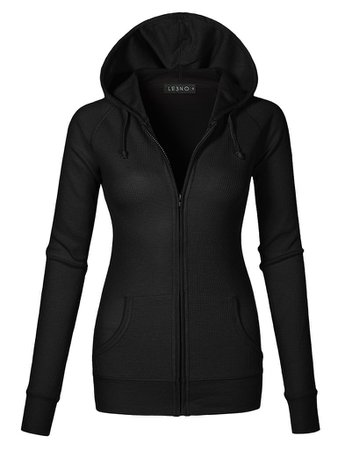 LE3NO Womens Lightweight Raglan Long Sleeve Zip Up Ribbed Thermal Hoodie Jacket | LE3NO black