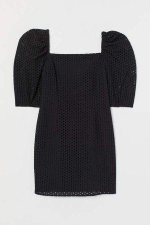 Eyelet Embroidery Dress - Black