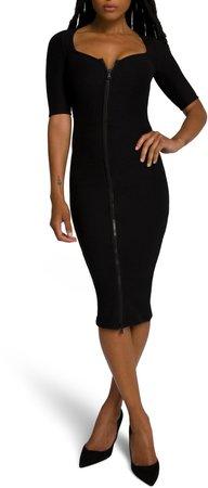 Zip Front Midi Dress