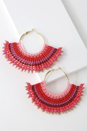 Boho Fuchsia Earrings - Beaded Earrings - Hoop Earrings
