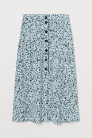 Button-front Skirt - Turquoise