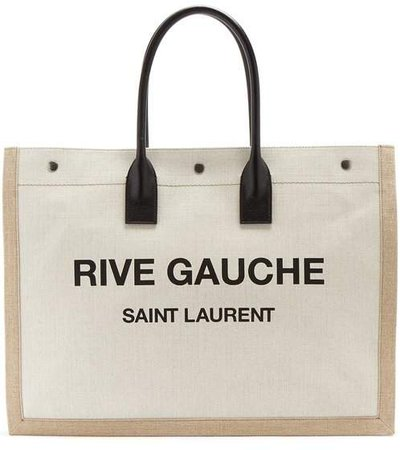 Rive Gauche Print Canvas Tote - Womens - Black White