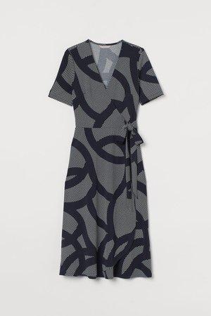 Jersey Wrap Dress - Blue