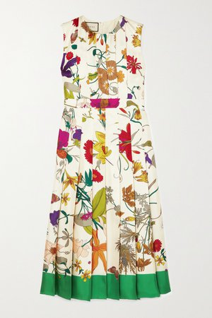 Ivory Pleated floral-print silk midi dress | Gucci | NET-A-PORTER
