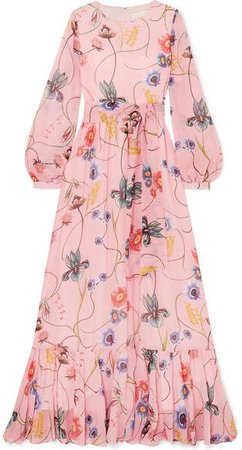 Borgo De Nor - Dianora Floral-print Silk Crepe De Chine Maxi Dress - Pink