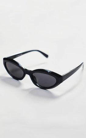 Black Round Frame Oversized Sunglasses | PrettyLittleThing