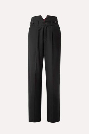 Woven Wide-leg Pants - Black