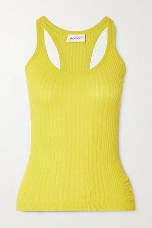 Edie Ribbed Cotton Tank - Yellow