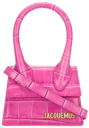 JACQUEMUS Hot Pink Croc Mini Handbag