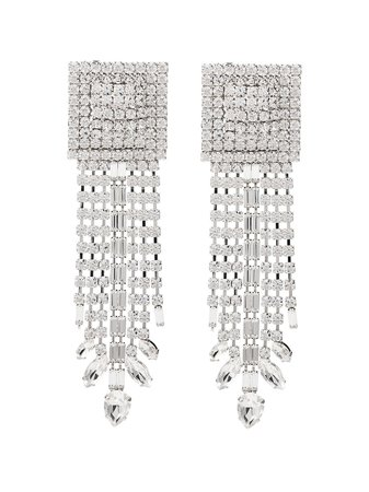 Alessandra Rich Square Cascade Crystal Earrings FABA2064 Metallic | Farfetch